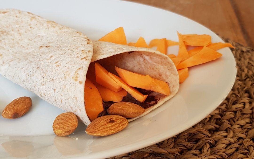 Choco wrap met amandelen en bataat